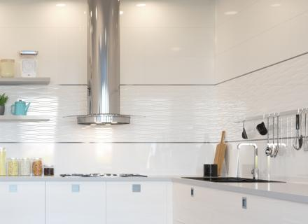 Využití bílého velkoformátového obkladu v kuchyni  <a href='http://www.loskachlos.cz/shop/file/1743/'>Blancos</a>